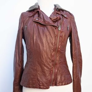Free People Size 2 Brown Faux Leather Jacket